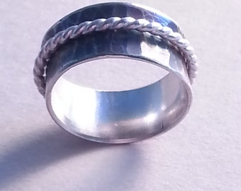 Hammered Sterling Silver Spinner Ring patina