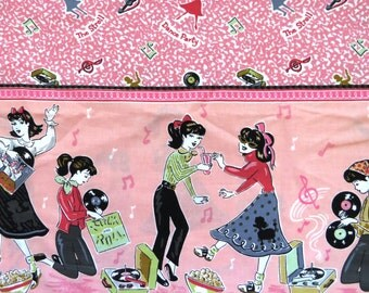 FABRIC - 2 Yards 1950s Rock and Roll Teenage Girls - Dance Music Records Hand Jive The Stroll Sock Hop Dance Party - DIY Sewing Projects