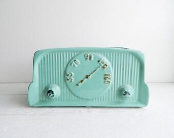 Vintage Aqua Ceramic Radio Planter - 50s Retro Kitschy Pottery - Turquoise Art Deco Novelty Flower Pot