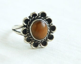 Tigers Eye Ring Size 6 .5 Vintage Sterling Silver Amber Honey Blossom Southwestern Jewelry
