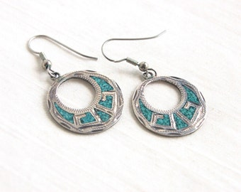 Mexican Dangle Earrings Vintage Sterling Hoops Tribal Blue Turquoise Resin Dangles Colonial Style