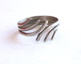 SALE Branch Ring Adjustable Sterling Silver Wrap Band Size 9 .5 Vintage Unisex Wire Bypass Gift Under 25