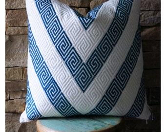 Nebaha Embroidered Pillow in Sky, Blue Pillow, F Schumacher, Greek Key, Indigo Pillow, Spring Pillow, Spring Decor, Chevron Pillow, Modern