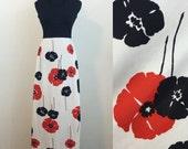 Falling Poppies // 1960s 1970s black red white maxi hostess dress