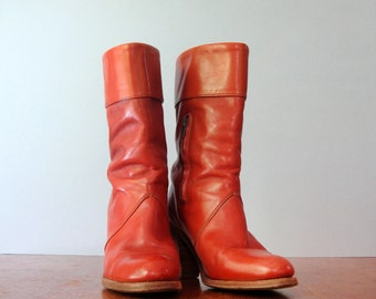 Chic Vintage 70's Frye High Zip Up Cuff Leather Boots