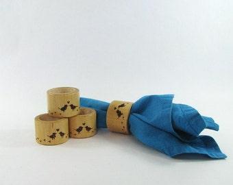 Wood Napkin Rings - Creative Pyrography - Love Birds