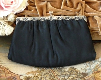 Black & Silver Cloth Evening Bag