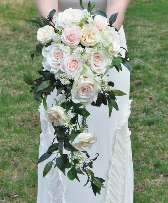 Blush Wedding Flowers: Cascade Wedding Bouquet Blush Rose Apricot Rose Italian