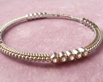 Rhinestone Goldtone Bangle Bracelet Designer Retro Vintage