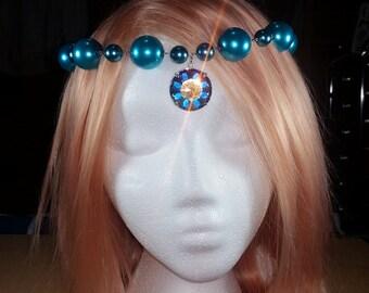 Unicorn Headdress in Caribbean - Pearl & Swarovski Aurora Borealis Crystal Headpiece - Princess / Bridal / Wedding / Cosplay