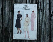 Very Easy Vogue 7717 1980s 80s  Ruffled 40s Inspired Dress Vintage Sewing Pattern  Size 10 Bust 32.5