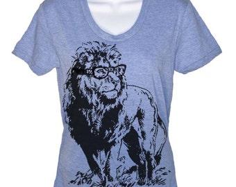 Lion Professor T-Shirt Animal Lover Geek Geeky Nerd Tee King Of The Jugle Funny Tees Gifts for Teacher Graduation Graduate Present Pun Tee
