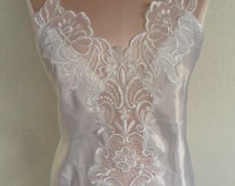 Vintage Nightgown Negligee White Satin Bridal Wedding