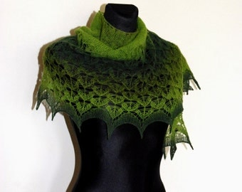 Hand Knit Lace Shawl, Green Knitted Shawl, Lace Shawl in Shades of Green, Crescent-shaped Scarf