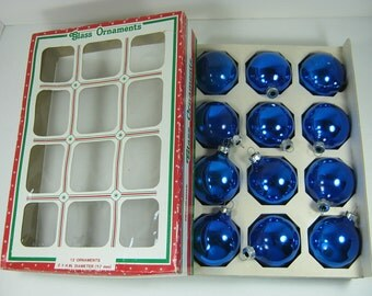 Vintage MERCURY Glass ORNAMENTS Set/12 Deep BLUE Christmas Tree Boxed