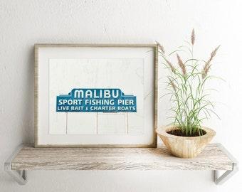 Malibu Pier Photography Print, Canvas Wrap, Beach Art, Home Decor, Vintage Pier Sign, Color & Black and White Fine Art Prints