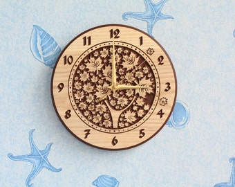 Carved wood wall clock Carved clock Wood clock Wooden clock Round clock with Tree clock Wall decor for Kitchen clock for Living room clock