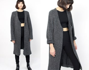 Long Grey Cardigan Sweater XL Oversized