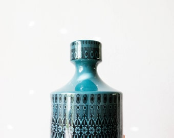 Rosenthal Mid Century Modern Teal Graphic Vase // Hans Theo Baumann // West German Porcelain