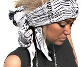 FREE SHIPPING- Aztec Gray Head Wrap (women, teen girls)