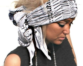 Aztec Gray Head Wrap (women, teen girls)