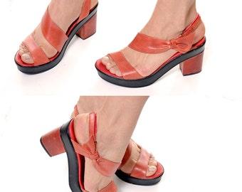 HOLIDAY SALE 1980's platform slingback sandals / vintage orange bow open toe heels / coral leather chunky heel sandals / size 40 womens 9
