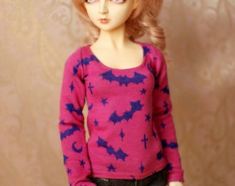 SD Pink and Blue Halloween Bat Top For BJD