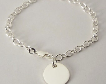 "Custom Engraved Monogram or Initial Bracelet Personalized Sterling Silver Petite Round Disc 7"" Length  - Hand Engraved"