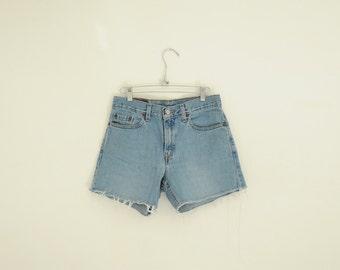 Vintage Levi's Blue Denim Cut Off Shorts, Womens Size Small - Medium