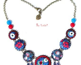 Boho Necklace, Statement Necklace, Textile Necklace, Blue Necklace, Button Necklace, Hippie Necklace