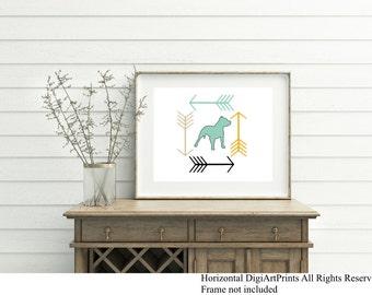 Pitbull Art Print, Modern Arrows, wall decor, dog lover gift, all breeds