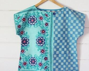 Upcycled Tea Towel Patchwork Women Top Shirt Linen Cotton Aqua Blue Checks Daisy Modern Vintage Retro Medium