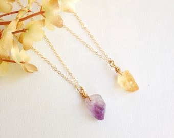 Raw gemstone necklace, amethyst necklace, citrine necklace, raw crystal necklace, boho modern necklace, simple necklace, bohemian layering