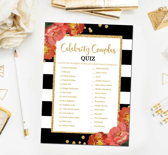 Celebrity Wedding Trivia Questions: Black And White Bridal Shower Games Celebrity Couples Quiz