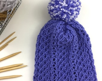 Womens Hat, Slouchy Knit Hat, Cable Knit, Periwinkle Hat, Knitted Hats for Women, Pompom, Knit Beanie, FLORETTA HAT