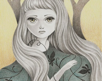 Print of Fantasy Original Art, Print of Pencil Drawing, Nymph Fairy in the Forest Illustration