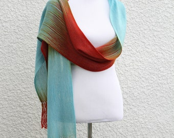 Woven wrap, woven stole, wedding shawl, bridesmaids shawl, event shawl,, gift for her, gradient color blue, red scarf with fringe
