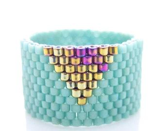 Mint Ring, Beaded Mint Ring, Mint Triangle Ring, Gold Triangle Ring, Dreadlock Bead, Geometric