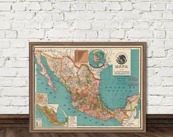 Old map of Mexico - Fine reproduction - Mexico map  restored
