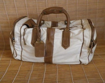 Vintage Medium Size Distressed Odd White Canvas Duffel Bag