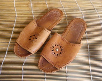 Vintage Brown All Leather Slippers - Size 41 Euro / US Women 9 1/2