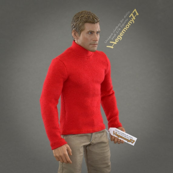 1/6th scale red turtleneck T-shirt / sweater for: regular size action figures and male fashion dolls