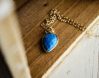 Mini Turquoise Bezel Necklace - Turquoise Blue Dagger Pendant | Gold Gemstone Jewelry | Indian Arrow Head Inspired