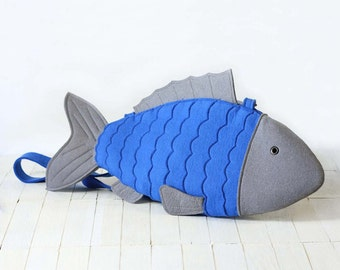 Blue Felt Fish Bag Fish Purse