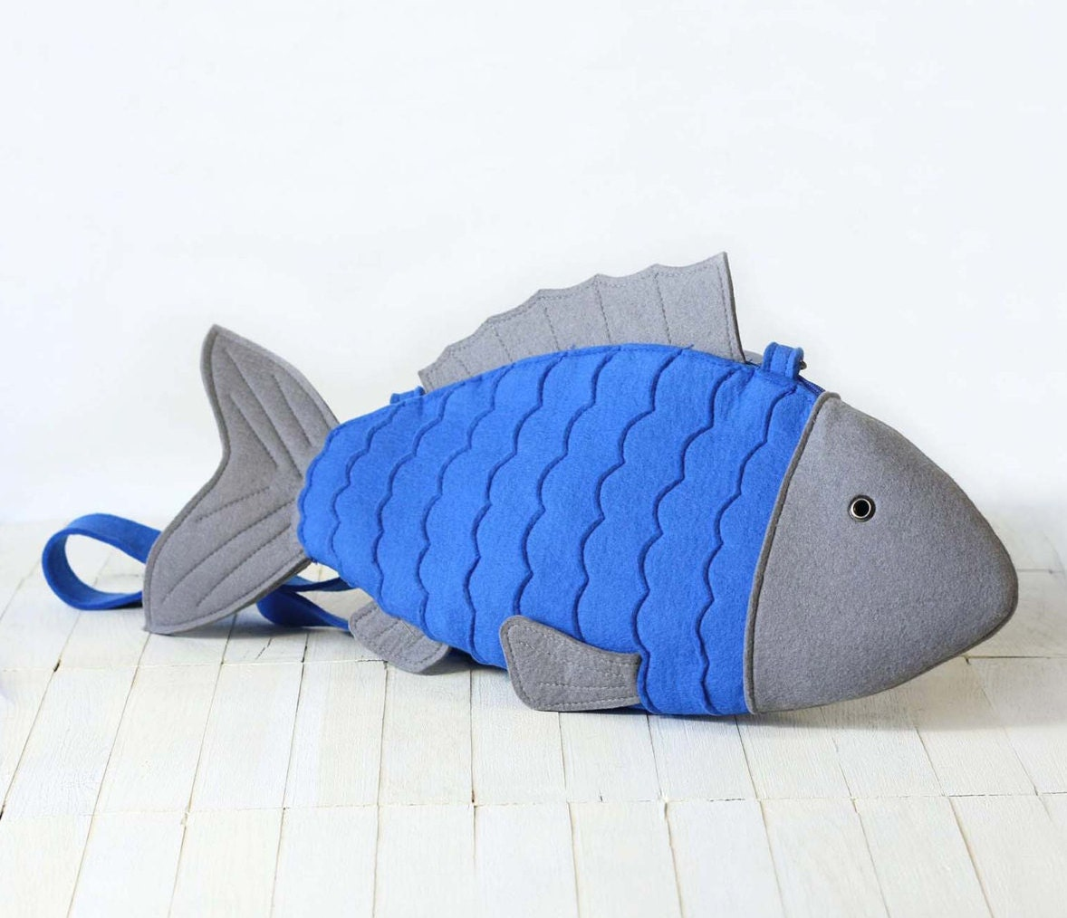 Blue felt fish bag fish purse for Fish in a bag