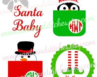 Christmas SVG - Christmas Monogram - Elf SVG - Holiday SVG - Digital Cut File - Instant Download - Silhouette Cut - Svg, Dxf, Jpg, Eps, Png