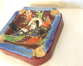 Vintage Moriage Made In Japan Ash Tray Gold Antique Collectible Japanese