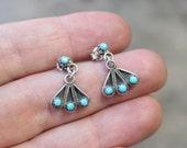Vintage Turquoise EARRINGS / Snake Eye Turquoise Earrings / Zuni Style Jewelry