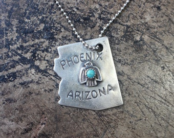 Fred Harvey Thunderbird / 1930's Phoenix Arizona Tourist Necklace / Vintage Sterling Silver Turquoise Charm Necklace
