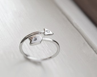 Arrow Ring Silver Initials Couples Mom Kids Letter Ring Stackable Stacker Sterling Silver Boho